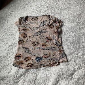 Madewell Palm Leaf Linen V-Neck Tee T Shirt